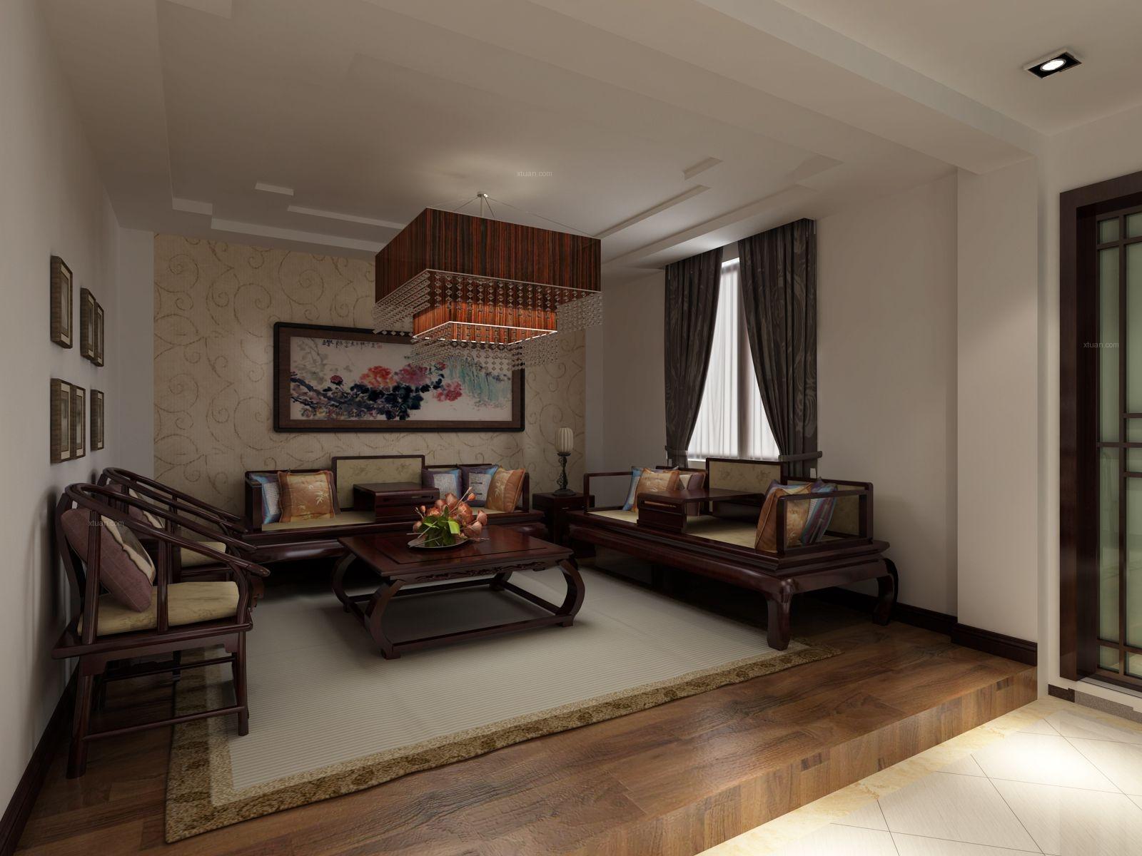 别墅中式风格客厅家庭影院