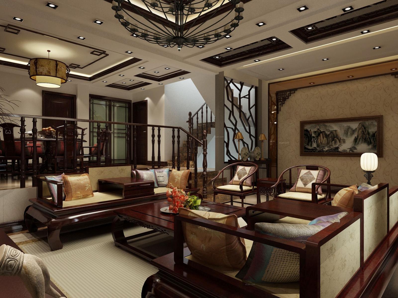 别墅中式风格客厅客厅隔断