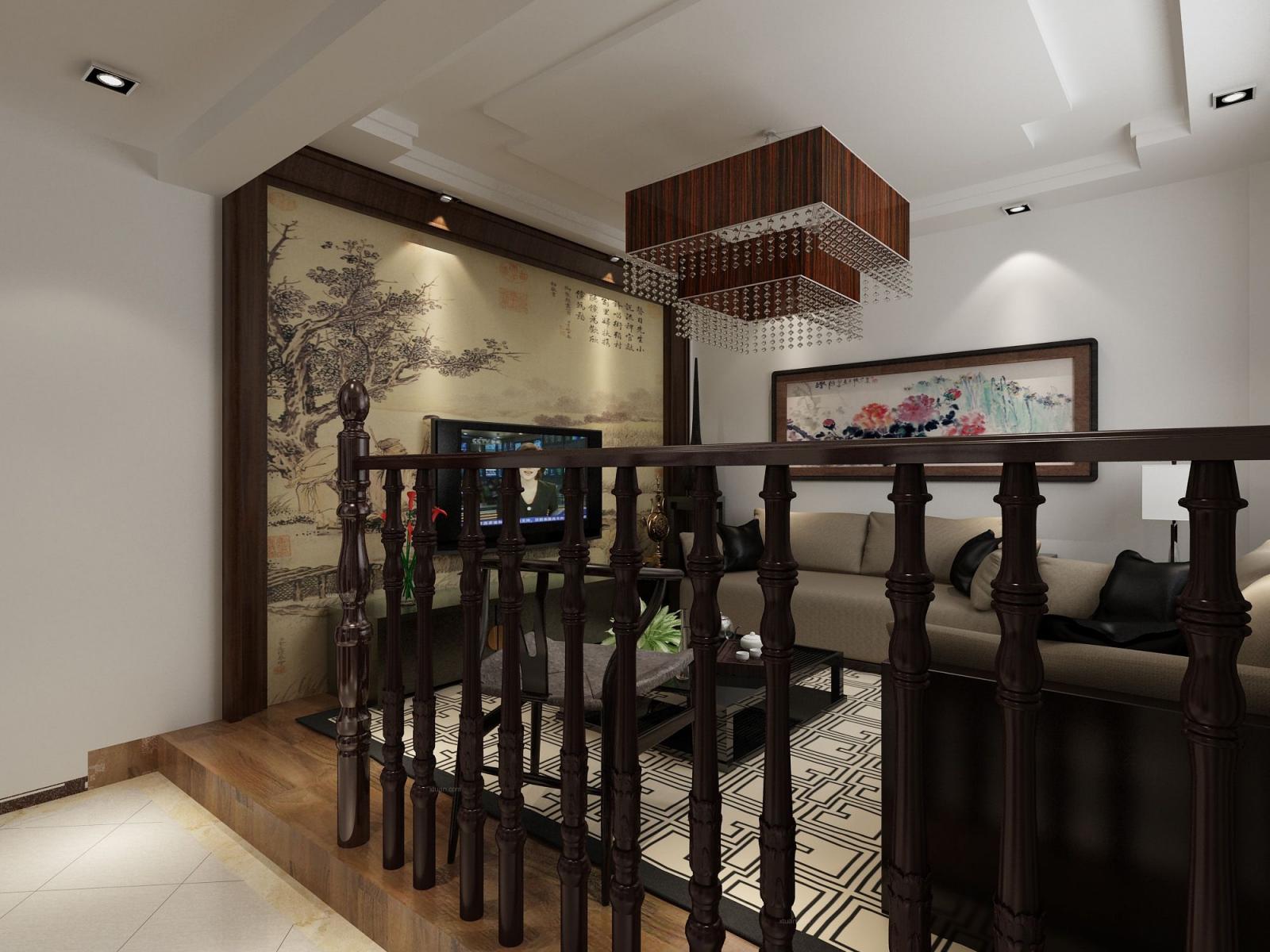 别墅中式风格客厅榻榻米