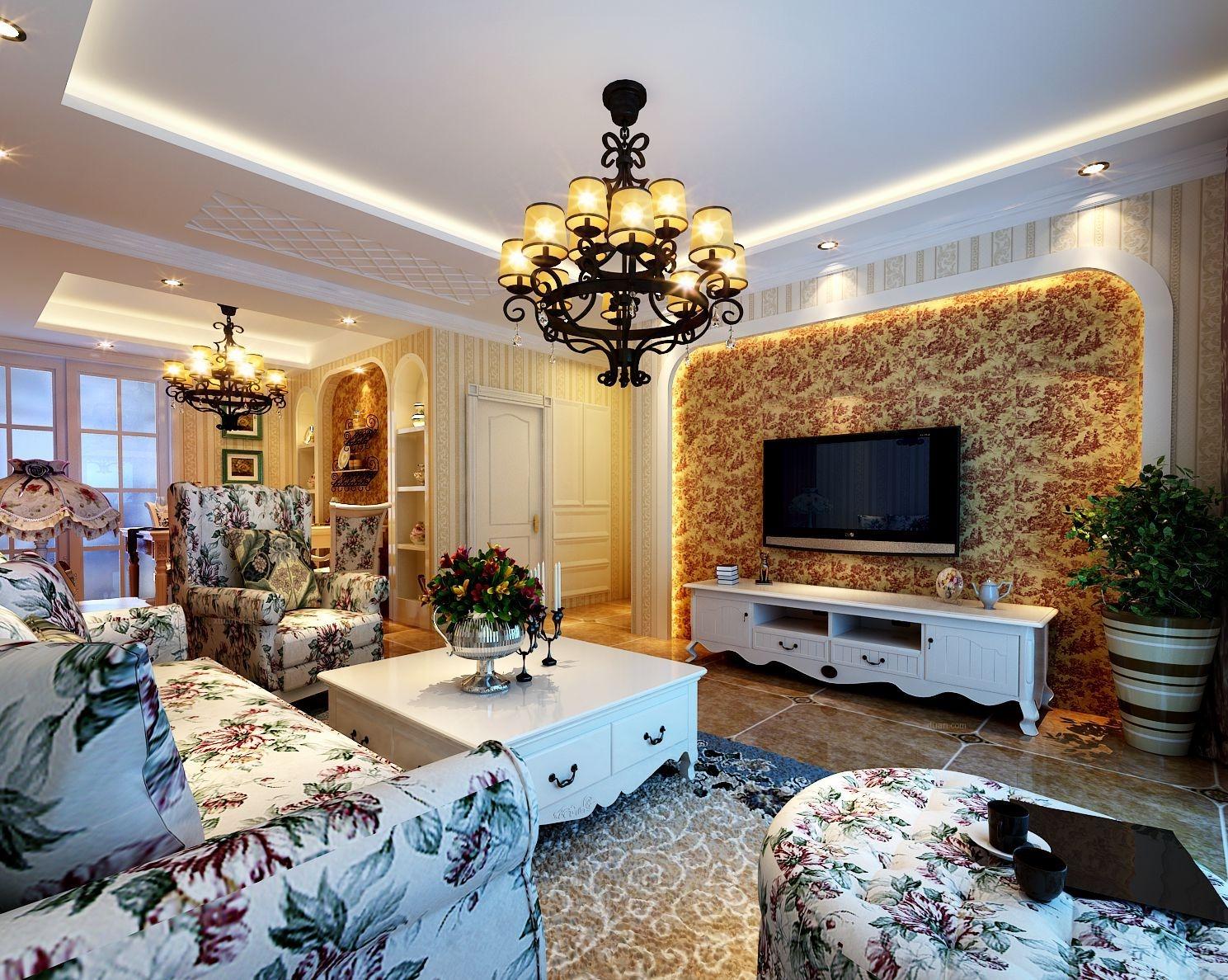 三居室简欧风格客厅电视背景墙图片