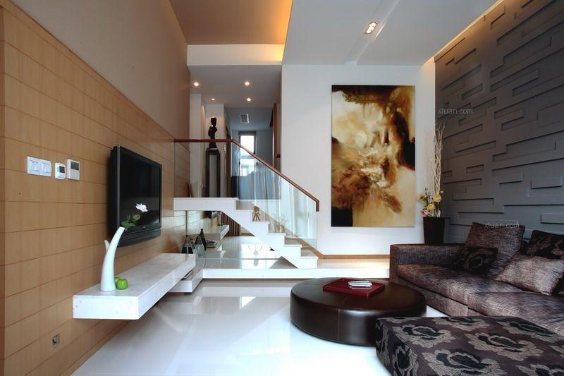 联排别墅简欧风格客厅沙发背景墙