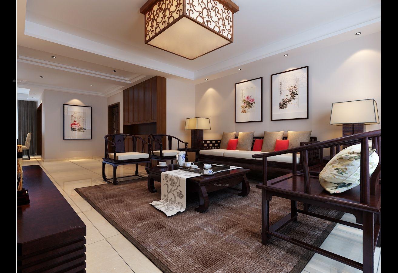 三室两厅中式风格客厅沙发背景墙图片