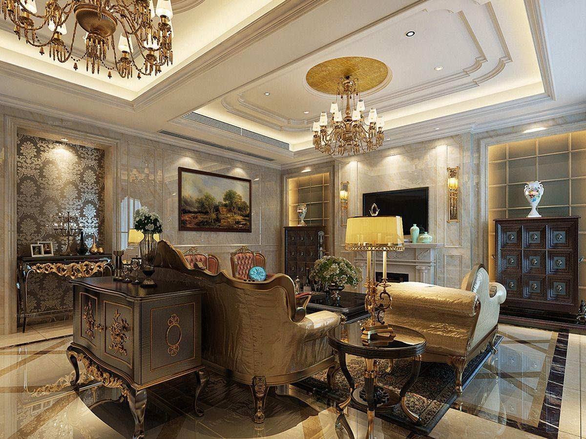 别墅古典风格客厅沙发背景墙
