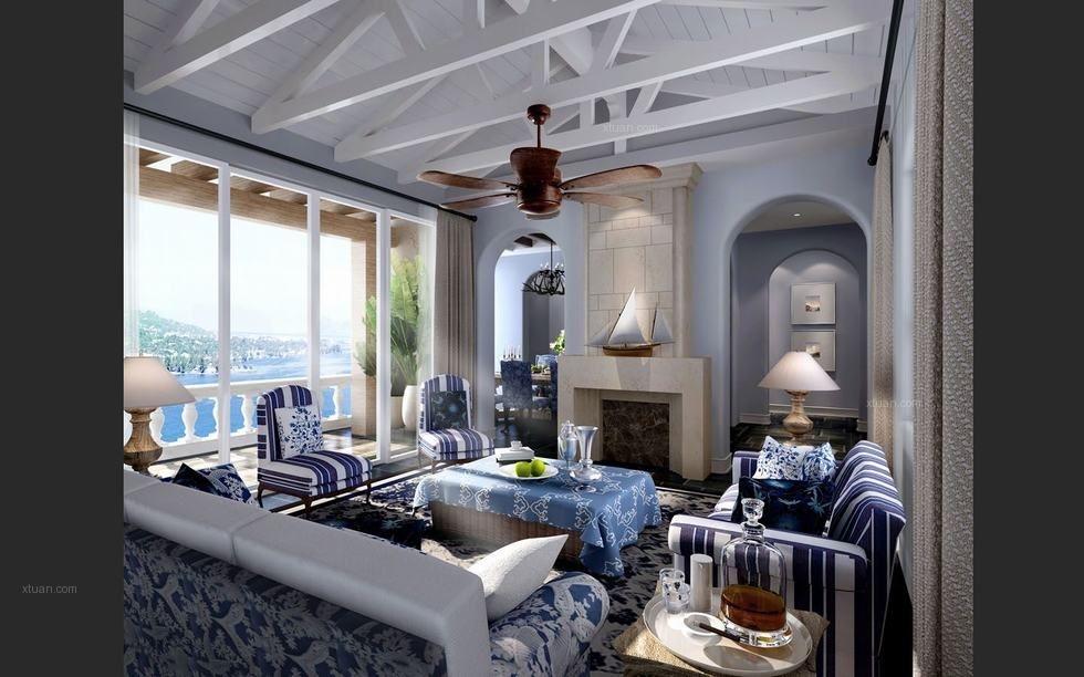 三室两厅地中海风格客厅客厅隔断