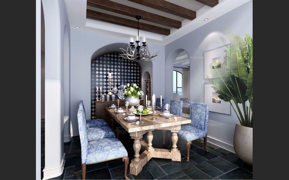 三室两厅地中海风格餐厅客厅隔断