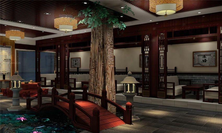 自然风趣的中式风格会所装修