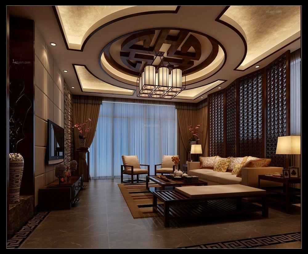 大户型欧式风格客厅圆形吊顶_阳光西海岸新中式装修图图片