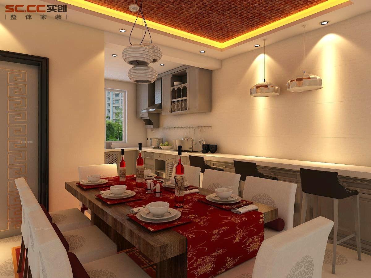 四居室中式风格餐厅开放式厨房