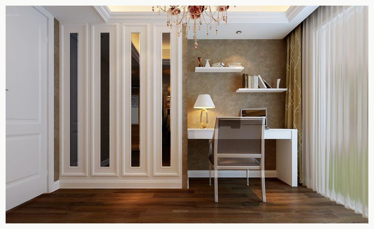 三居室欧式风格书房隐形门_山水装饰设计华地公馆装修