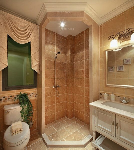 三居室新古典卫生间_新古典家庭装修效果图-x团装修网