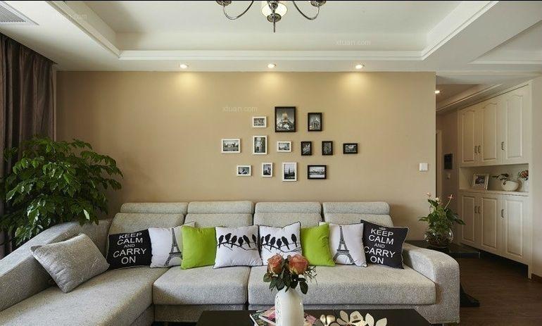 两室一厅现代风格客厅沙发背景墙