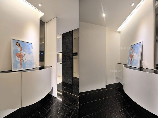 两居室现代简约玄关_现代家庭装修效果图-x团装修网