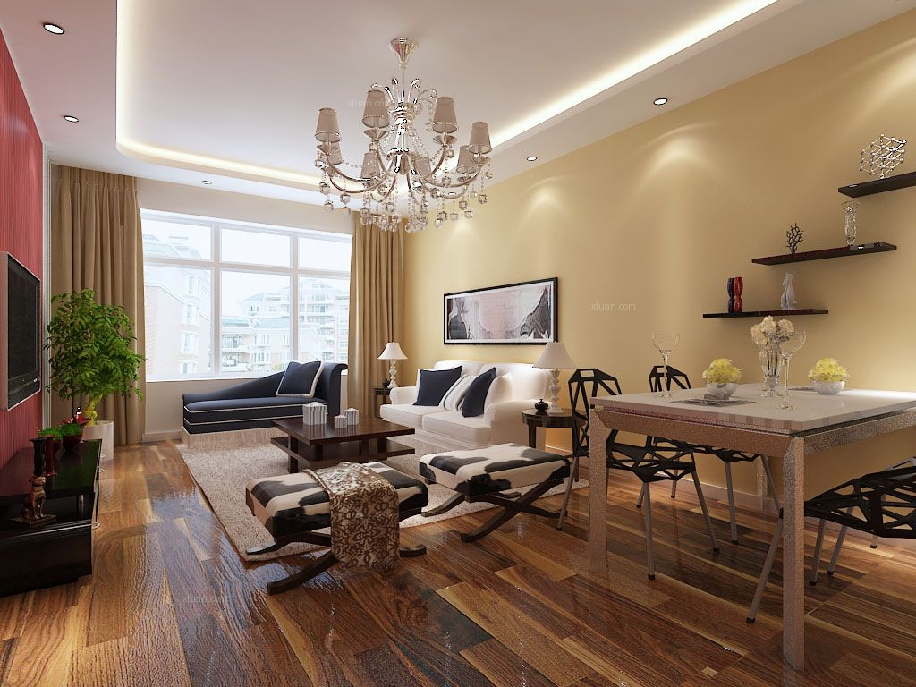 两室一厅现代简约客厅沙发背景墙