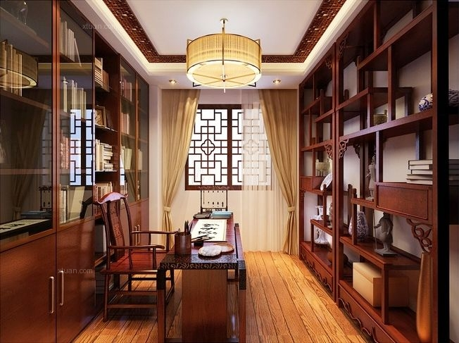 别墅中式风格客厅_复式结构中国风中的清雅韵味装修图片