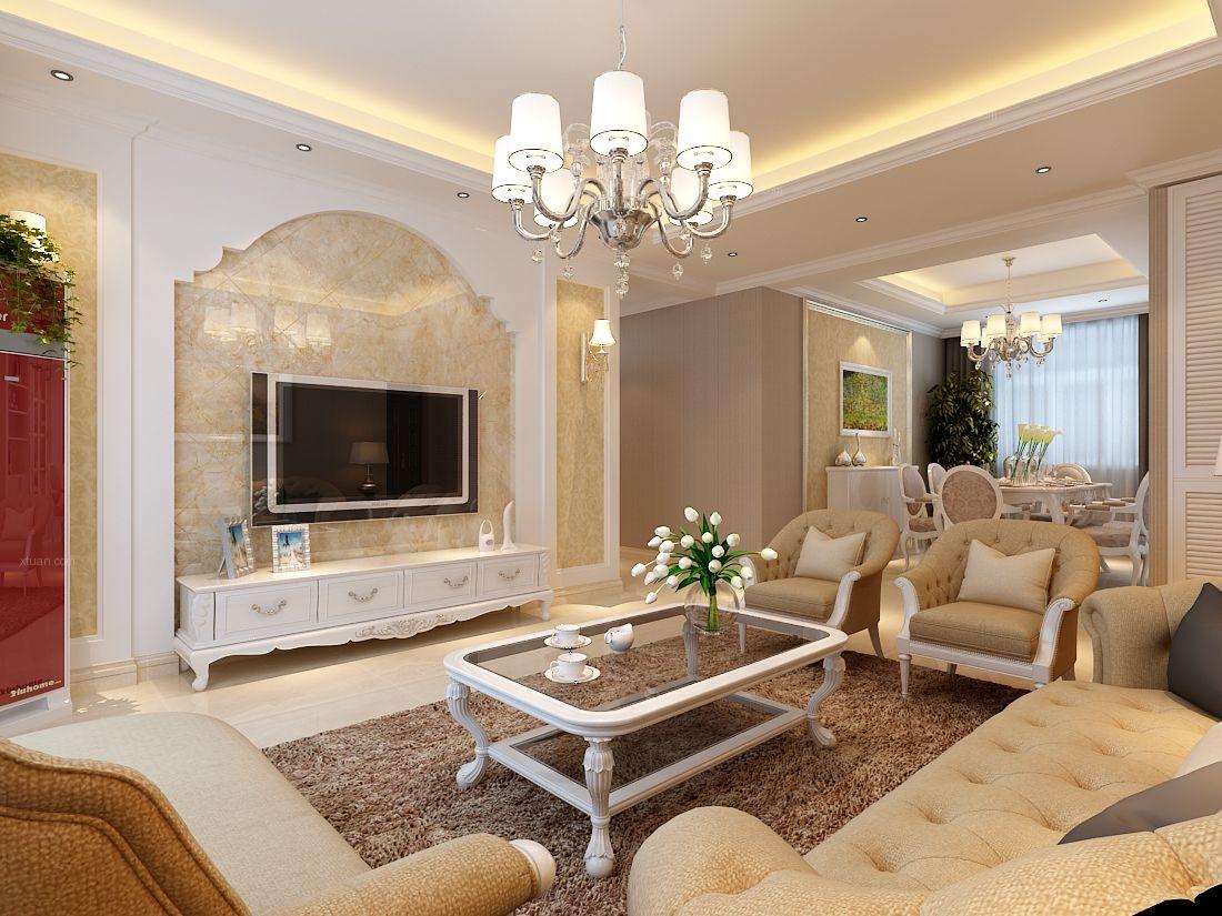 三室两厅简欧风格客厅电视背景墙