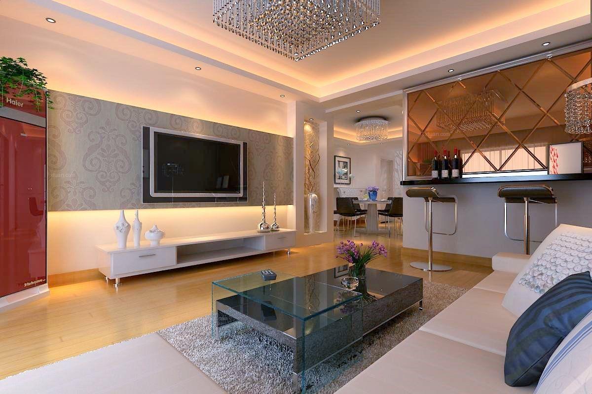 四居室现代风格客厅电视背景墙