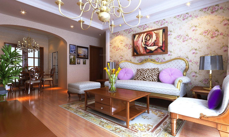 两室两厅美式风格客厅沙发背景墙_原树提香装修效果图图片