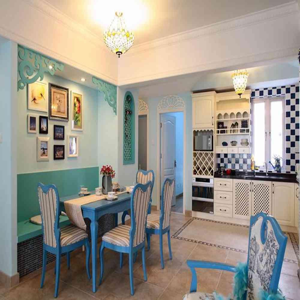 两室两厅地中海风格餐厅开放式厨房
