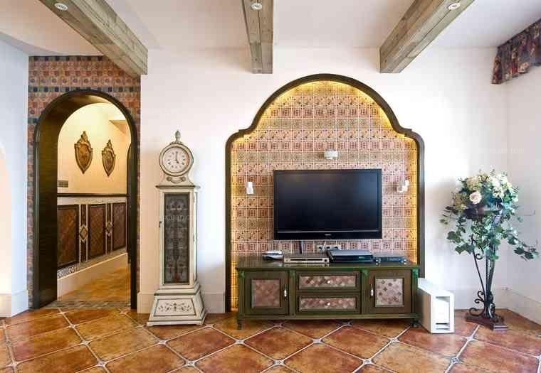 三室一厅地中海风格客厅电视背景墙