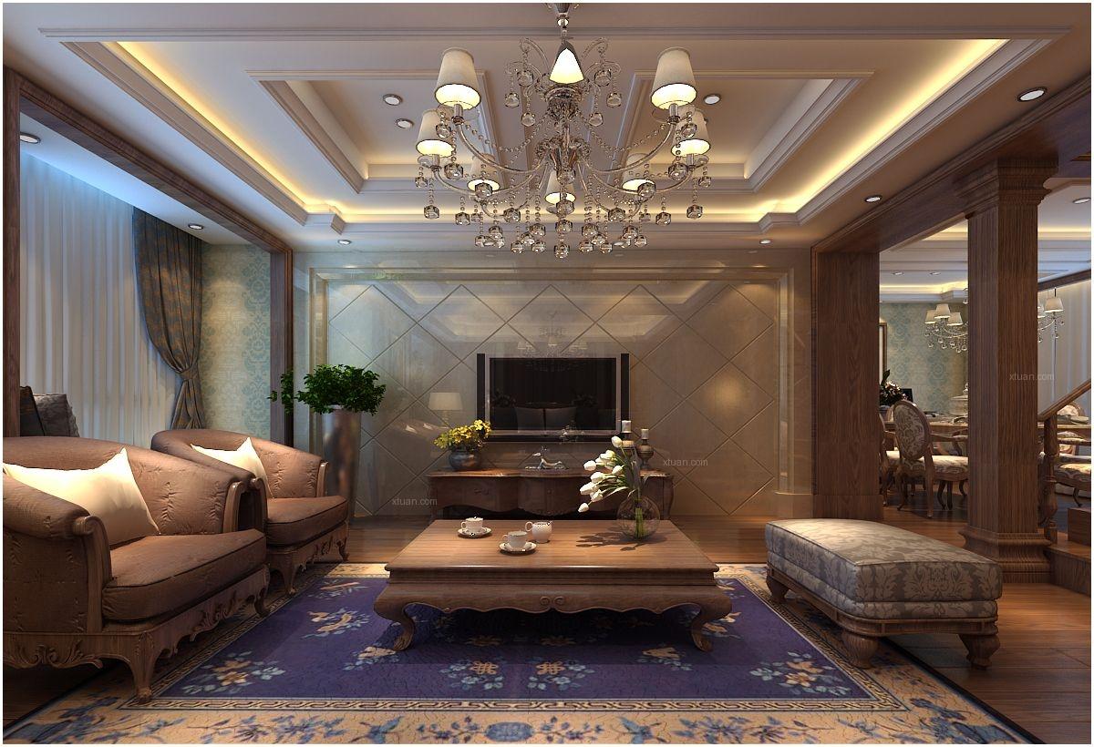别墅欧式风格客厅电视背景墙