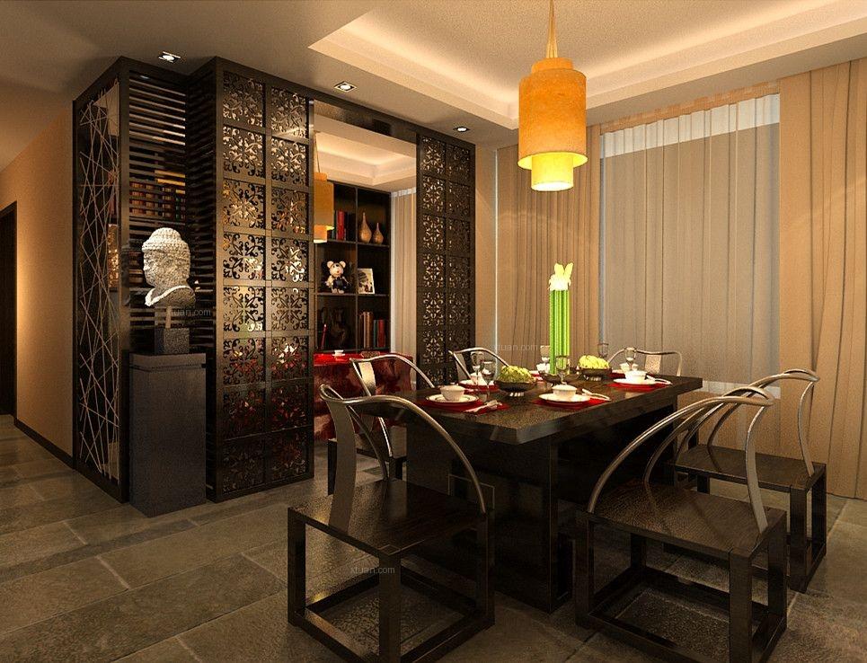 三室两厅中式风格餐厅_华地紫园装修效果图-x团装修网图片