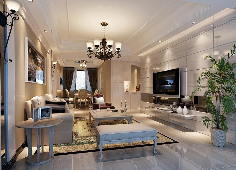 三室两厅现代风格客厅软装