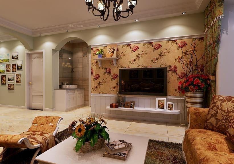两室两厅田园风格客厅电视背景墙