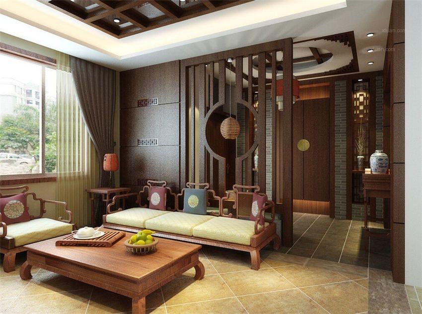 別墅中式風格客廳_傳統中式別墅突出原汁原味裝修效果