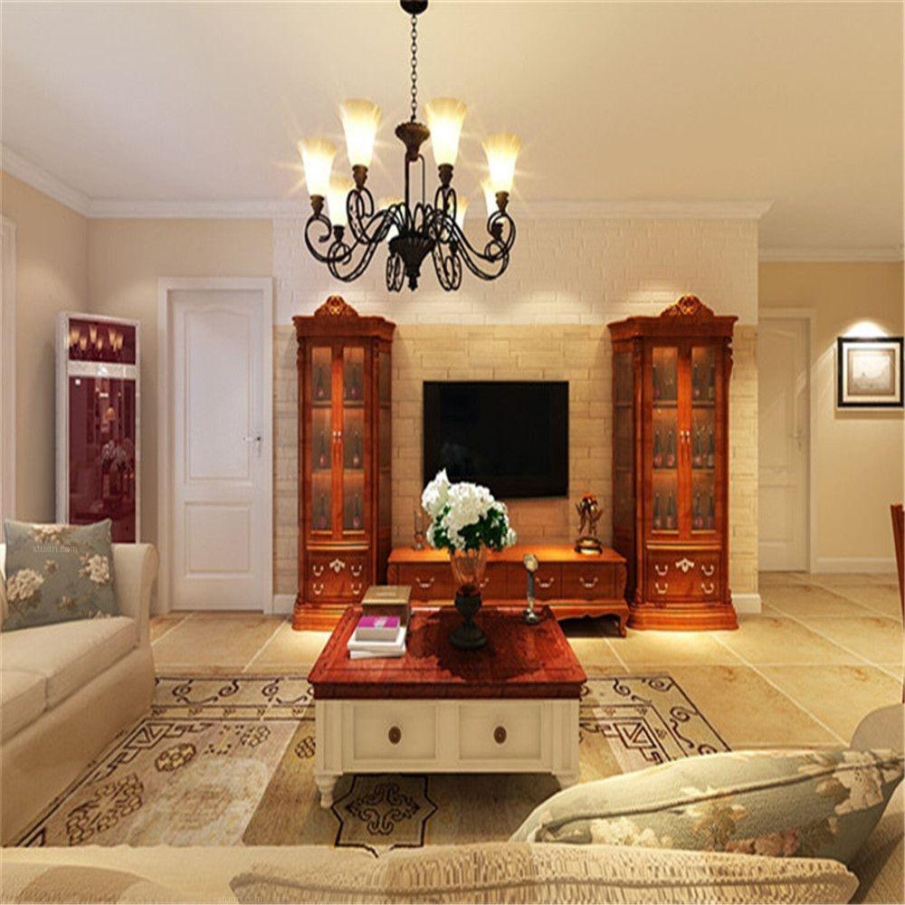 两居室美式风格客厅沙发背景墙图片