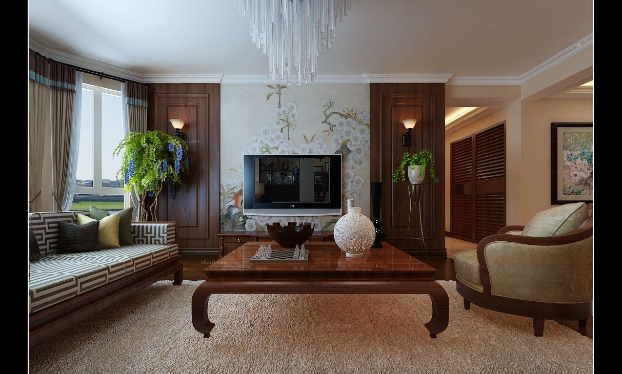 复式楼古典风格客厅电视背景墙
