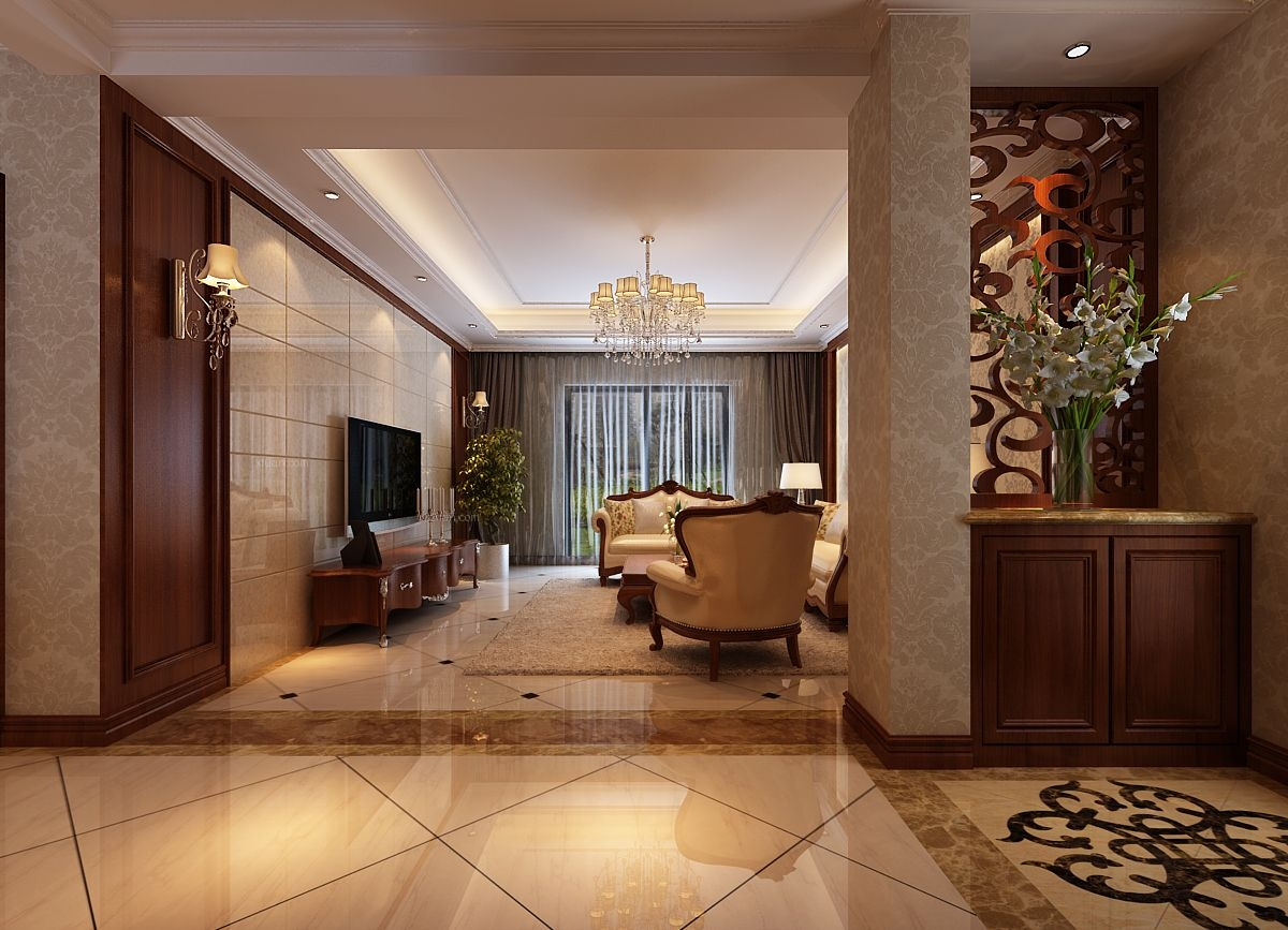 三室两厅中式风格客厅客厅隔断
