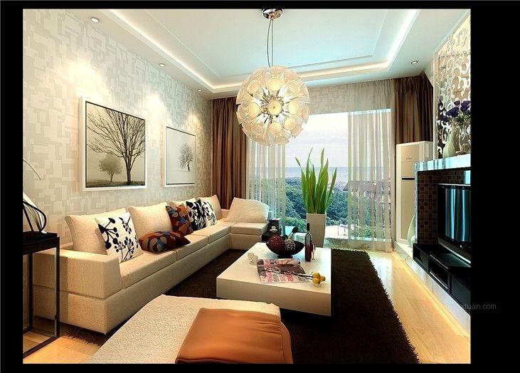 复式楼现代简约客厅沙发背景墙图片
