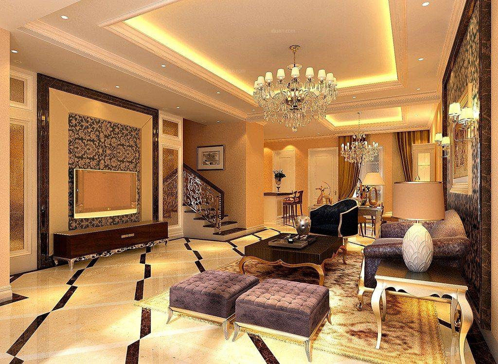 错层现代风格客厅_北京别墅的蔚澜香醍案例欣赏装修图