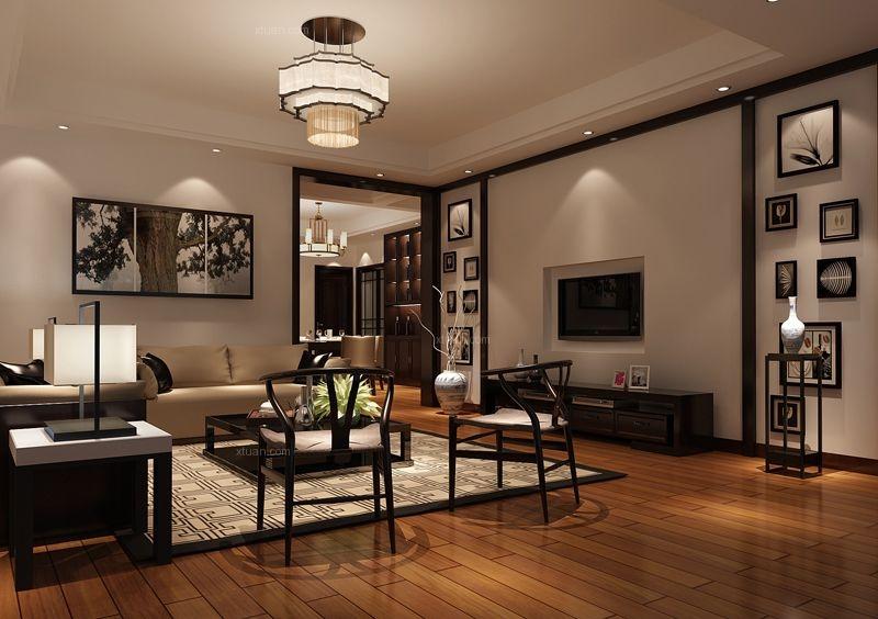 大户型中式风格客厅电视背景墙