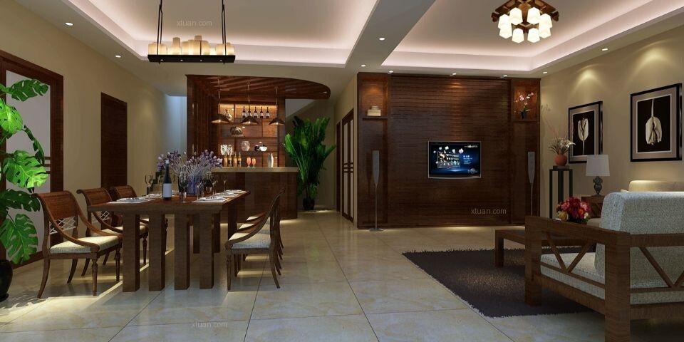 别墅东南亚风格客厅电视背景墙