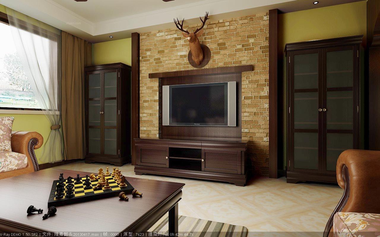 大户型美式风格客厅电视背景墙图片