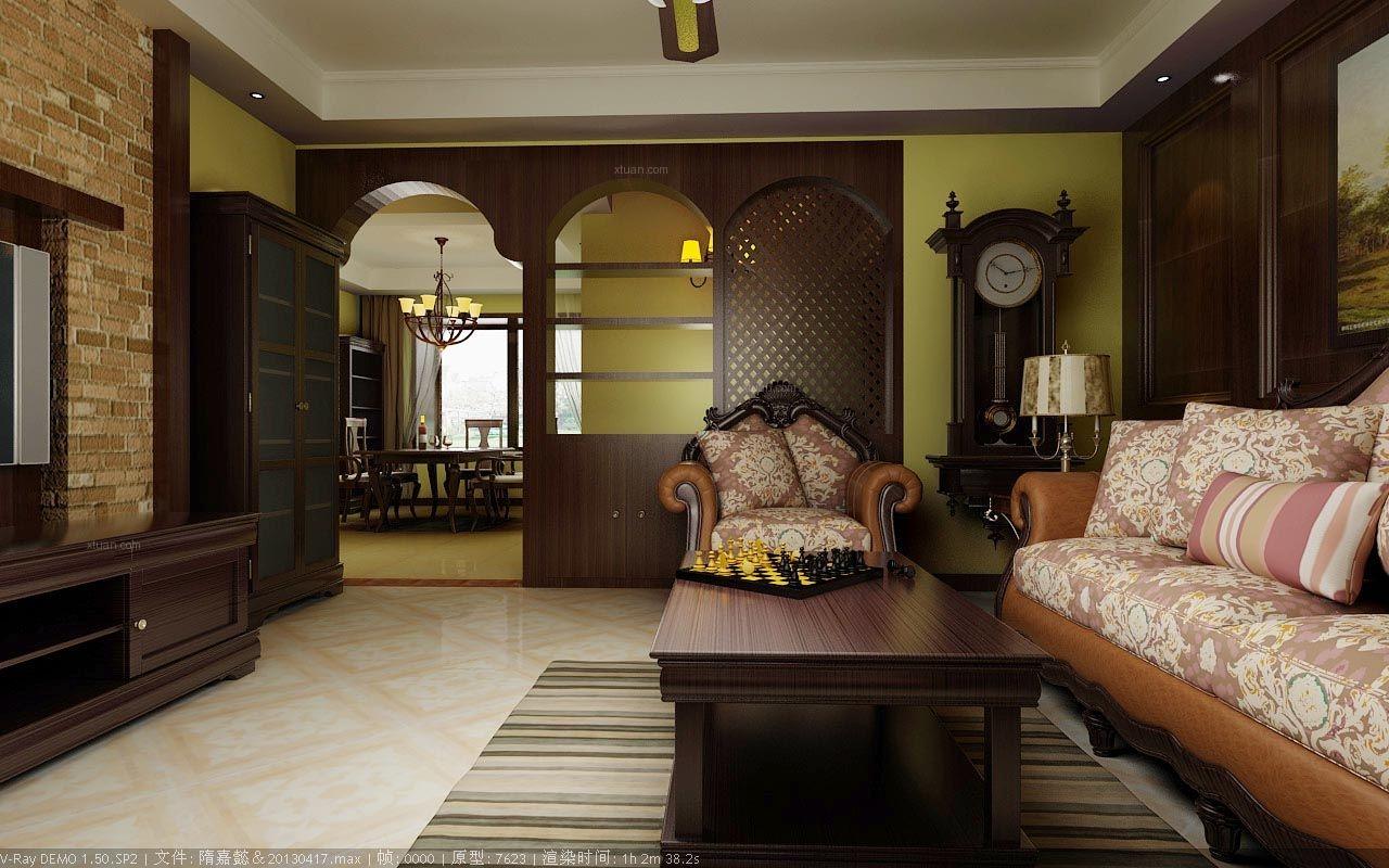 大户型美式风格客厅沙发背景墙图片