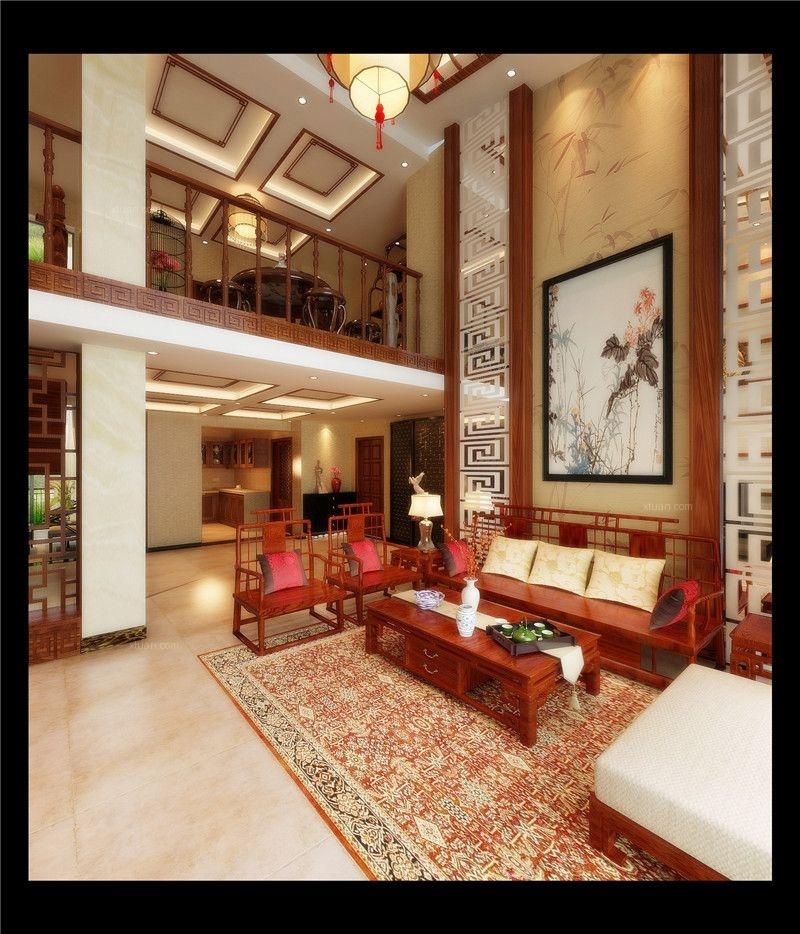 复式楼中式风格客厅沙发背景墙_遵义某小区装修效果图图片
