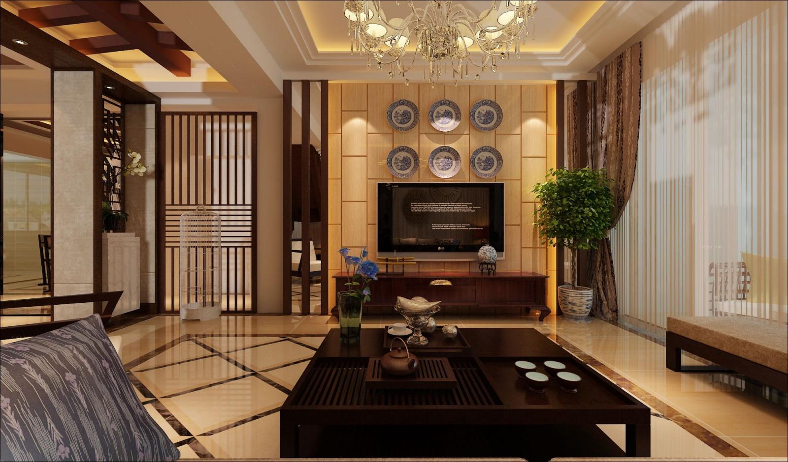 复式楼中式风格客厅电视背景墙图片