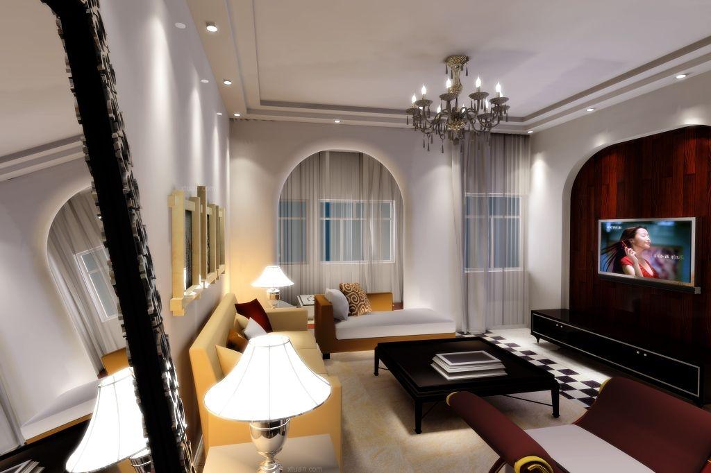 三居室美式风格客厅圆形吊顶