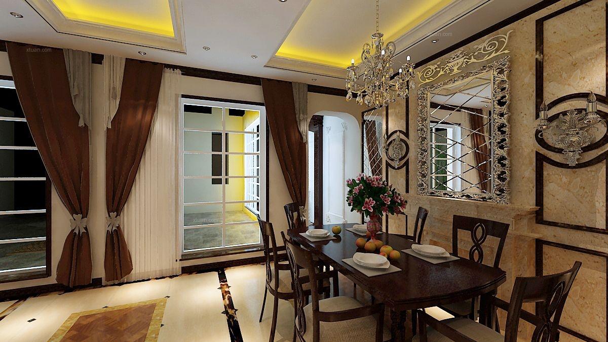 别墅古典风格客厅_万科兰乔圣菲装修效果图-x团装修网图片