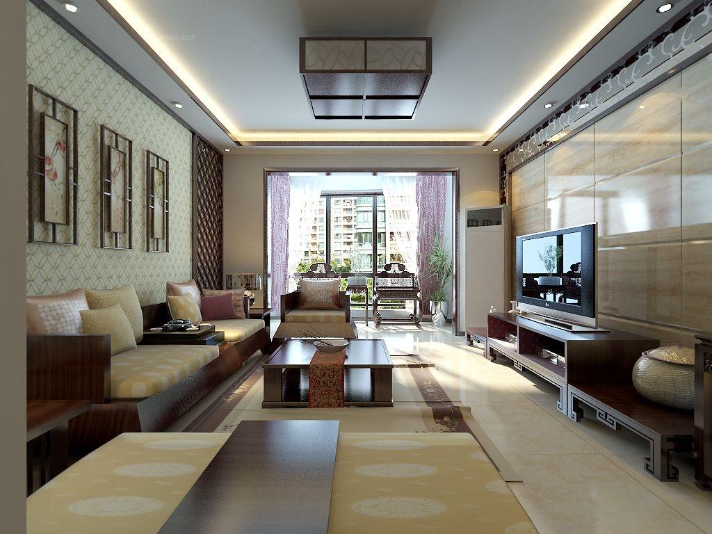 四居室中式风格客厅_现代中式实景图装修效果图