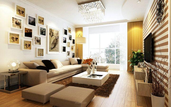 两居室现代风格客厅照片墙_华邑世纪城93平米现代风格图片