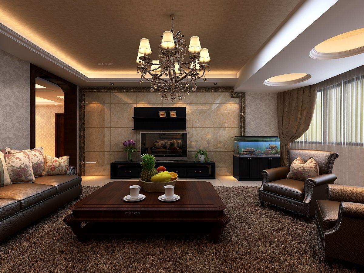 四居室古典风格客厅电视背景墙