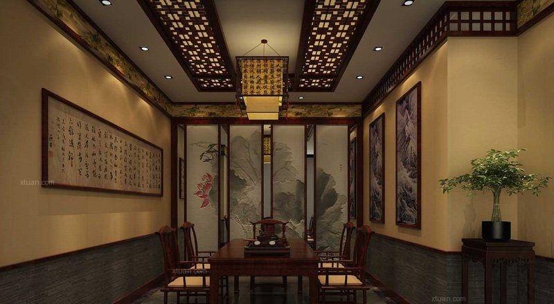 中式风格茶馆_中式茶楼案例装修效果图-x团装修网图片