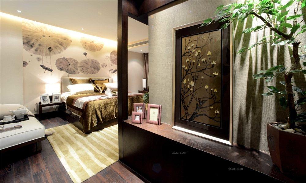三室两厅中式风格卧室_光盛豪庭装修效果图-x团装修网图片