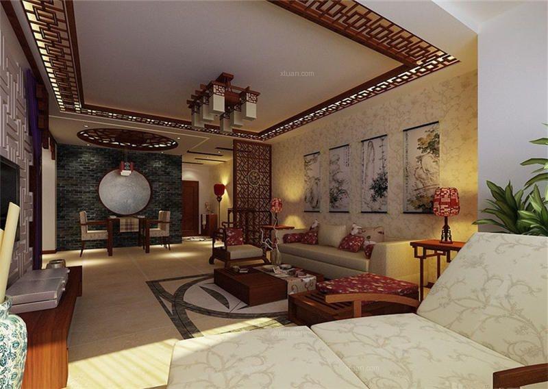 简约中式风格农村别墅装修室内设计