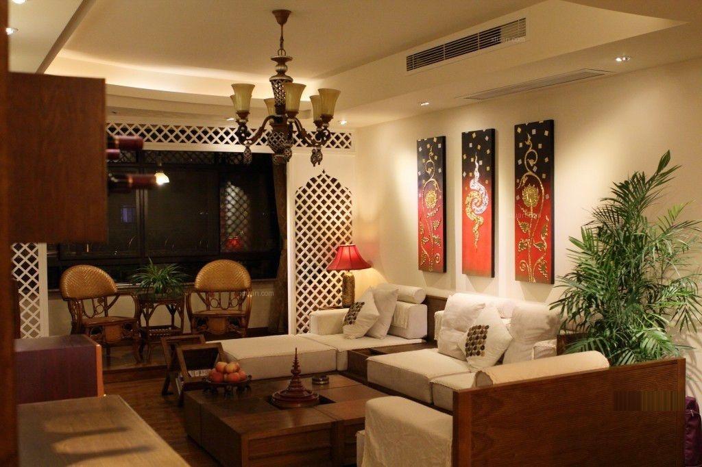 52000元             政务区三室两厅客厅东南亚风格 帮我出个设计