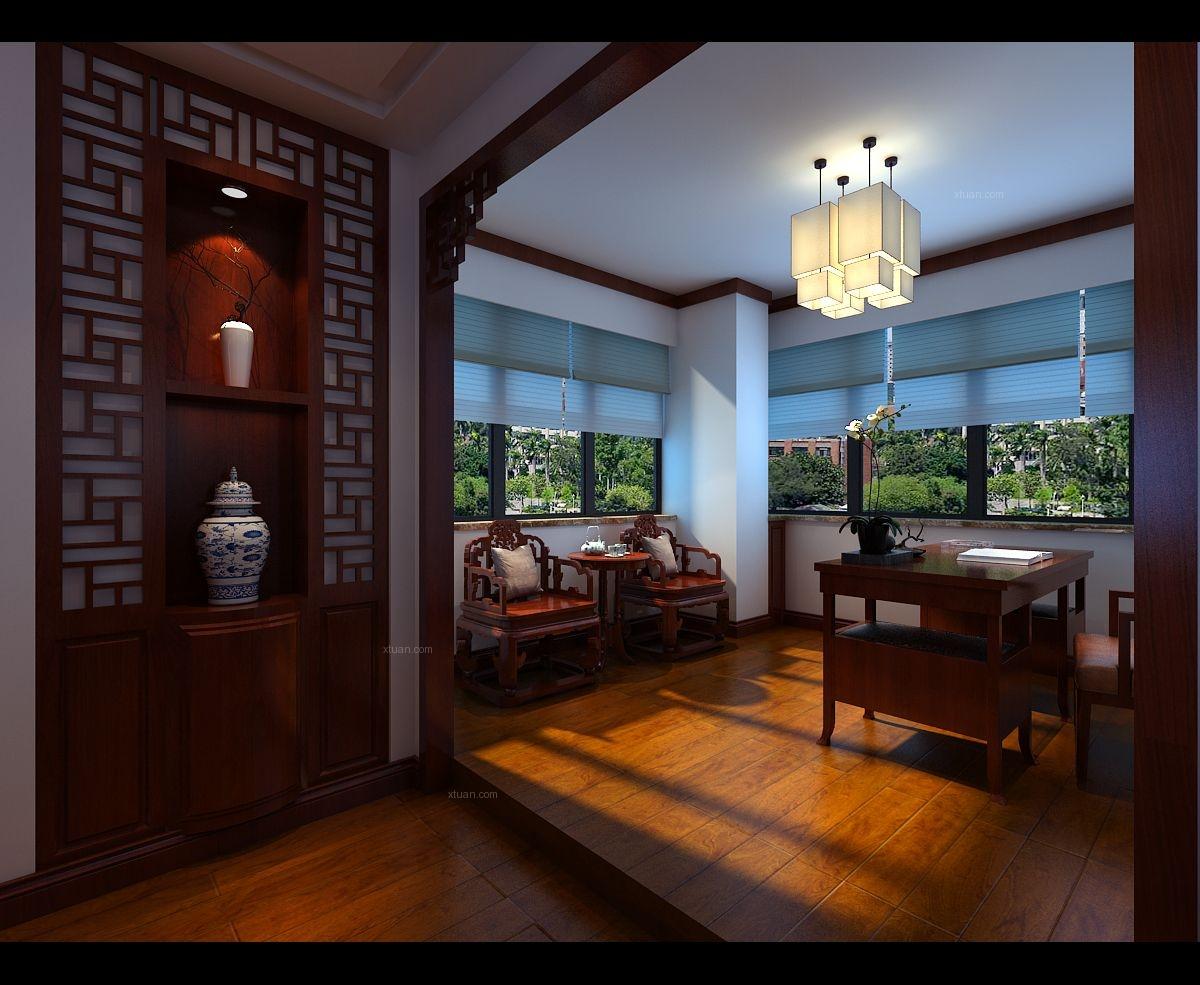 三室两厅中式风格交换空间客厅隔断_旭辉御府装修效果图片