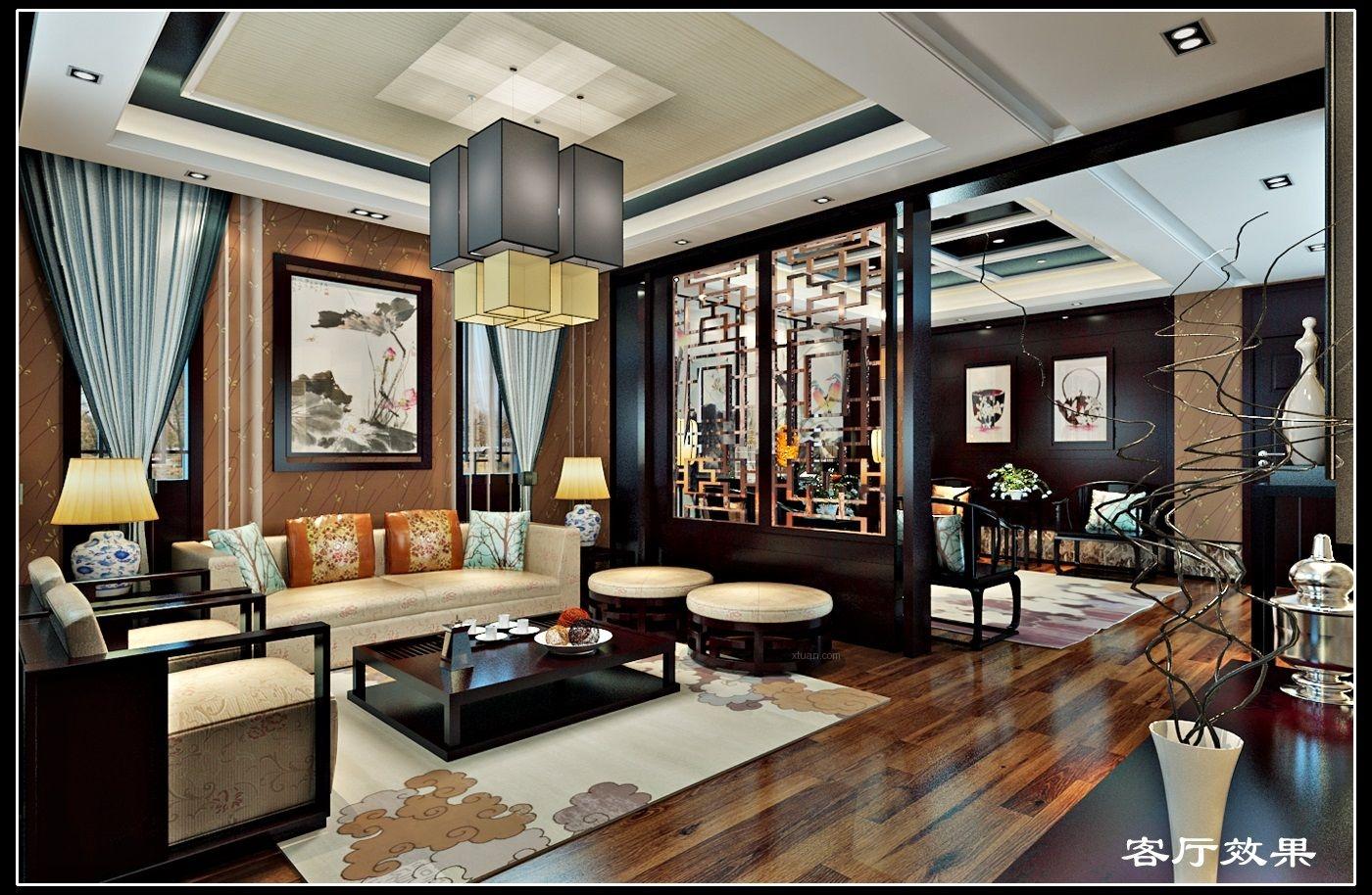独栋别墅中式风格客厅客厅隔断